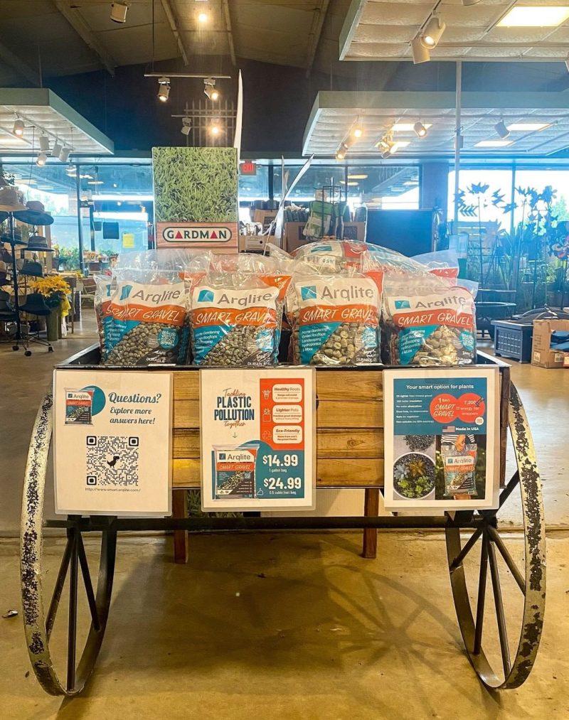 Esbenshades' store exhibiting bags of Smart Gravel